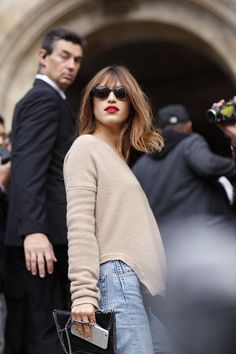 camel cashmere + bold red lip