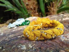 Sari Chiffon Ribbon and Rhinestone Bracelet  by AllyandBella, $19.80