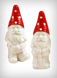 "Gnome Salt & Pepper Shakers  Add a little fun flavor to your next feast with these adorable Gnome salt & pepper shakers. Made of hand-painted glazed ceramic, they feature white bodies with little red and white polka dot mushroom-cap inspired hats ♥.  * 5"" x 1.75"" x 1.75""  * Ceramic  * Hand Wash Only  $14.00"
