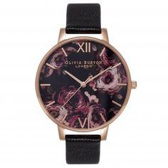 I'm falling for Olivia Burton ;) Painterly Prints Black and Rose Gold Watch