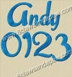 Andy Font 3 Sizes Alphabet Embroidery Design