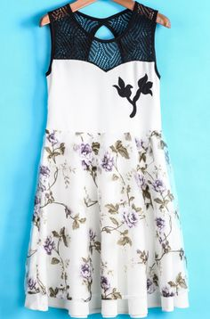 White Sleeveless Contrast Organza Floral Dress US$23.88