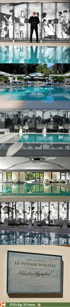 The ODYSSEY is a beautiful outdoor and indoor pool, furniture and art installation by Karl Lagerfeld for the Hotel Metropole in Monte Carlo.