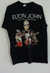 Elton John Rocket Man Tour 2010 Definitive Hits Ss Blk T Shirt sz Lg Rock Blues