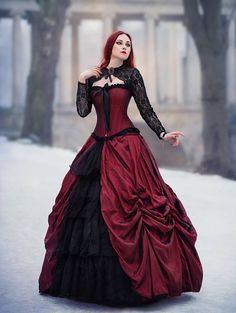 gothic style Red Black Gothic Long Prom Dress - D-RoseBlooming Buy diamonds Article Body: Diam Gothic Gowns, Victorian Ball Gowns, Gothic Outfits, Gothic Prom Dresses, Gothic Clothing, Victorian Dresses, Steampunk Clothing, Gothic Jewelry, Red Wedding Dresses