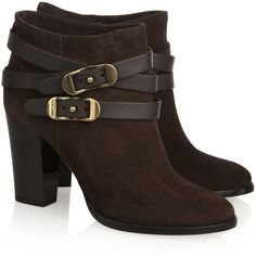 Jimmy Choo Melba buckled suede ankle boots (15,550 MXN) ❤ liked on Polyvore featuring shoes, boots, ankle booties, sapatos, heels, botas, short suede boots, suede bootie, high heel ankle boots and block heel boots