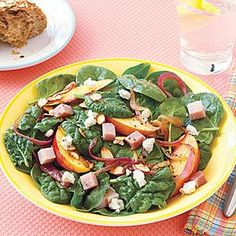 Warm Spinach Salad with Red Onions and Nectarines Recipe   MyRecipes.com