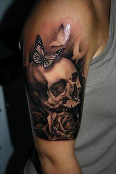 girls n sculls. definatley yes Dope Tattoos, Skull Thigh Tattoos, Lil Peep Tattoos, Skull Rose Tattoos, Skull Sleeve Tattoos, Creepy Tattoos, Body Art Tattoos, Girl Tattoos, Tattoos For Guys