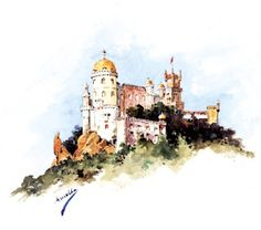 Watercolor - Sintra palace painted by Queen D. Amélia of Portugal