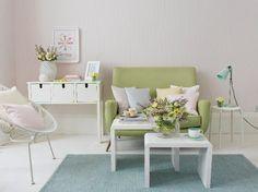 Salas de estar em cores pastel nórdico | Decoração e Ideias