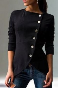Love this Top! Fashionable Black Round Collar Skew Buttoned Slit Coat For Women #Black #Button #Top #Fashion