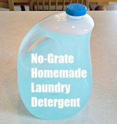 How To Make Your Own No-Grate Liquid Laundry Detergent No-Grate Laundry Detergent: 3 Tablespoons Borax 3 Tablespoons Washing Soda 2 Tablespoons Dawn Dish soap Put these ingredients in a one gallon jug. Pour 4 cups boiling water into the jug. Homemade Cleaning Supplies, Cleaning Recipes, Cleaning Hacks, Homemade Products, Cleaning Solutions, Diy Products, Diy Cleaners, Cleaners Homemade, Household Cleaners