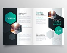 Bifold Business Broschüre oder Magazin Cover Seite Design mit sechseckigen Form Vektor-Vorlage Kostenlose Vektoren