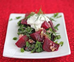 Warm Braised Beet Salad with Beet Greens and Yogurt Dressing Recipe (Power Foods) ~ http://jeanetteshealthyliving.com