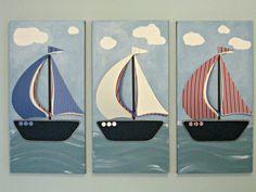 Decoración de la habitación de forma - veleros - infantil - la nave vivero Wall Art - 3 12 x 24 lienzos