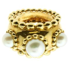 Chanel Pearl Dome Gold Ring | From a unique collection of vintage cocktail rings at https://www.1stdibs.com/jewelry/rings/cocktail-rings/