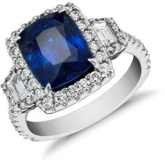 Blue Nile Sapphire and Diamond Halo Three-Stone Ring in 18k White Gold… ($12,500) ❤ liked on Polyvore