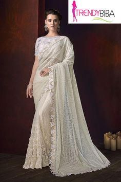 Miraculous Off White Bridal Classic Designer Saree Luxury Wedding Dress, Pakistani Wedding Dresses, Saree Wedding, Bridal Sarees, Wedding Wear, Party Wear Sarees Online, Party Sarees, Indian Sarees Online, Buy Sarees Online