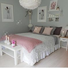 An improved, feminine bedroom that provides an area to remainder, research study. An improved, feminine bedroom that provides an area to remainder, research study or captivate pals in vogue. Pops of pin. Room Makeover, Bedroom Makeover, Bedroom Themes, Room Inspiration, Girl Room, Bedroom Decorating Tips, Bedroom Decor, Cute Bedroom Ideas, Feminine Bedroom