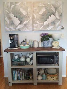 Open shelving coffee bar and microwave shelf – Home coffee stations Kitchen Shelves, Kitchen Redo, Kitchen Storage, Kitchen Remodel, Kitchen Ideas, Microwave Stand, Microwave Shelf, Microwave Table, Microwave Oven