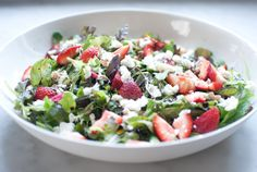Strawberry salad with pistachios--perfect for dinner on a hot summer night!