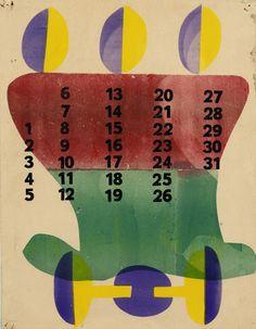 Calendar pages from Dutch artist Hendrik Nicolaas Werkman(1882 – 1945, source:The Wolfsonian-Florida International University).