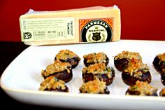 Sartori Stuffed Mushrooms 12 Baby Bella Mushrooms, 1/3 c bread crumbs, ½ c SarVecchio® Parmesan, 1 tsp chopped fresh thyme, Clean and de-stem mushrooms, mix all ingredients except mushrooms together, fill mushroom cavities with the mixture, bake at 350 degrees for 20-25 min