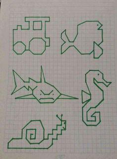 geometric figures for logos Graph Paper Drawings, Graph Paper Art, Easy Drawings, Drawing For Kids, Art For Kids, Pixel Drawing, Art Perle, Mandala Art Lesson, Blackwork Embroidery
