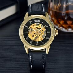 37.98$  Buy now - http://ali5bt.shopchina.info/go.php?t=32791141021 - MCE Luxury men's watch Full Stainless Steel skeleton watch High quality brown leather Mechanical Watch waterproof clock men   #magazineonline