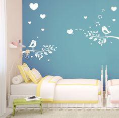 (3448n) Nálepky na stenu - Zaľúbené vtáčiky   ARTSABLONY.SK