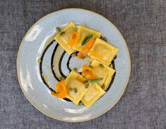 Butternut Squash Ravioli with Brown Butter and Sage - Perfect Pasta Inc - Premium Quality Pasta and Gourmet Foods Gourmet Food Plating, Gourmet Foods, Gourmet Recipes, Pasta Recipes, Cooking Recipes, Fancy Food Presentation, Restaurant Plates, Food Plating Techniques, Butternut Squash Ravioli