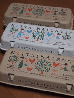 I love that this design is colourful and makes you think of the farm the eggs come from. Egg package made from recycled paper - Japanese food packaging|MOTTAINAI たまご Packaging Box, Pretty Packaging, Brand Packaging, Design Packaging, Recyclable Packaging, Coffee Packaging, Label Design, Branding Design, Package Design