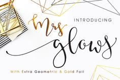 Mrs Glows Modern Font With Extras - Script - 1