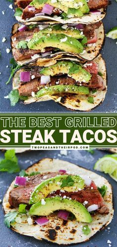 Want an easy Mexican dinner recipe? Try this Grilled Chili Lime Steak Tacos! This weeknight dinner idea starts with avocado, red onion, cilantro, and queso fresco! This homemade dinner recipe can be served with your favorite toppings. Pin this best spring dinner idea! Mexican Dinner Recipes, Mexican Dishes, Best Grilled Steak, Easy Weeknight Meals, Healthy Meals, Steak Tacos, Chili Lime, Food Dishes, Beef Recipes