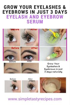 A simple DIY serum to grow your eyelashes and eyebrows really fast. This is a natural method hence it wont irritate your eyes. Ingredients Aloe Vera 1 Teaspoon Organic Castor Oil 2 Teaspoon V Long Thick Eyelashes, How To Grow Eyelashes, Thicker Eyelashes, Longer Eyelashes, Castor Oil Eyelashes, False Eyelashes, Castor Oil For Eyebrows, Eyebrow Serum, Eye Serum