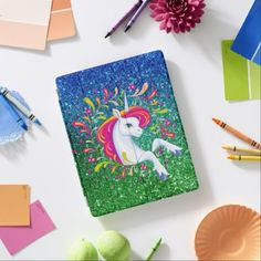 #cute - #Rainbow Unicorn Blue & Green Glitter-look iPad Smart Cover