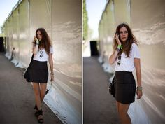 Leather and White Concert Outfit Rock, Kiss Concert, Concert Outfits, Rock Concert, Caroline Blomst, Casual Outfits, Cute Outfits, Concerts, High Waisted Skirt