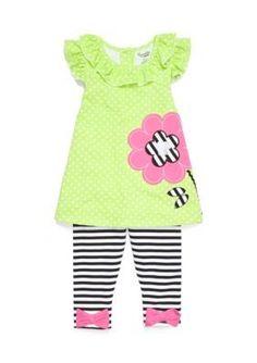 Nannette  Flower Tunic and Leggings 2-Piece Set Girls 4-6x