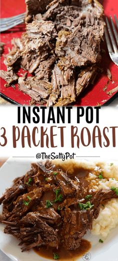 CRAZY DELICIOUS INSTANT POT 3 PACKET ROAST This Instant Pot 3 Packet Roast makes a tough cut of beef super tender! The 3 packets used in the recipe add SO much savory, beefy, yummy flavor to the roast, and best of all, it makes its own gravy! Chuck Roast Recipes, Pot Roast Recipes, Cooking Recipes, Best Chuck Roast Recipe, Recipe For Roast, Chuck Roast Instant Pot Recipe, Oxtail Recipes, Game Recipes, Cooking Games