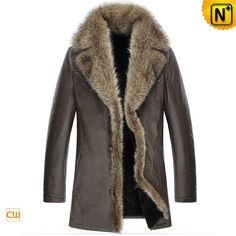 www.cwmalls.com PayPal Available (Price: $1558.89) Email:sales@cwmalls.com; Mens Sheepskin Winter Coat Fur Collar CW852468 Versatile men's sheepskin winter coat with raccoon fur collar, quality Australian imported natural sheepskin shearling lining, genuine Napa finish leather and warm raccoon fur trimmed lapel all combined into this sheepskin coat!