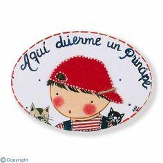 Mini placa de puerta artesanal: Niño con gorra (ref. 12123-01)