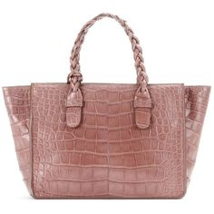 Valentino To Be Cool Alligator Leather Tote (€17.895) ❤ liked on Polyvore featuring bags, handbags, tote bags, pink, tote handbags, valentino tote, handbags tote bags, pink tote purse and valentino purses