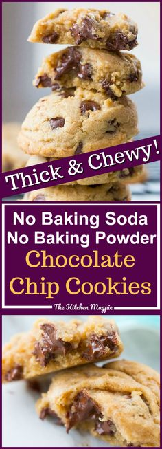 How to make delicious chocolate chip cookies recipe without baking soda or baking powder! This recipe will ensure that you have amazing cookies - without baking powder or soda! Recipe from @kitchenmagpie