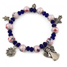 3c2eb840a6 #Rosary #Bracelet with capped pink glass #beads, blue #crystal beads,
