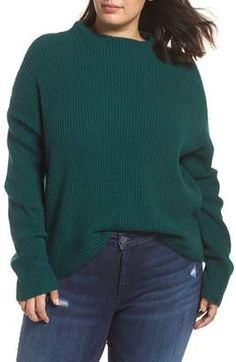 This cozy ribbed sweater is kissed with wool for added warmth when the weather gets chilly. Plus Size Fall Fashion, Autumn Fashion, Ribbed Sweater, Men Sweater, Plus Size Sweaters, Funnel Neck, Knitwear, Nordstrom, Turtle Neck