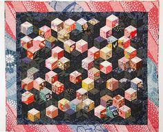 080123_037 Cubes flottants - Variations sur le losange - Quilt en tissus japonais