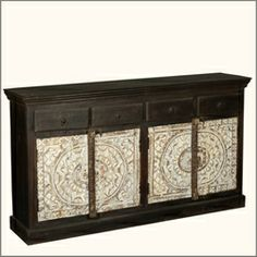 Midnight Snowflake Reclaimed Wood Sideboard Buffet Cabinet