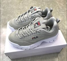 Fila disruptor ii suede grey unisex shoes us sz - livia green- Girls Sneakers, Sneakers Fashion, Fashion Shoes, Shoes Sneakers, Sneakers Fila, Women's Shoes, Fall Shoes, Sock Shoes, Cute Shoes