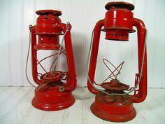 Vintage Fire Engine Red Rustic Metal Lanterns Pair by DivineOrders, $39.00