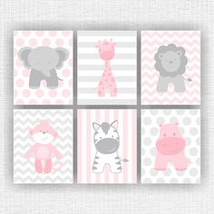Jungle Animals, Elephant, Giraffe, Hippo, Lion, Monkey, Zebra, pink and grey nursery wall decor, Set of 6, 8х10, Instant download